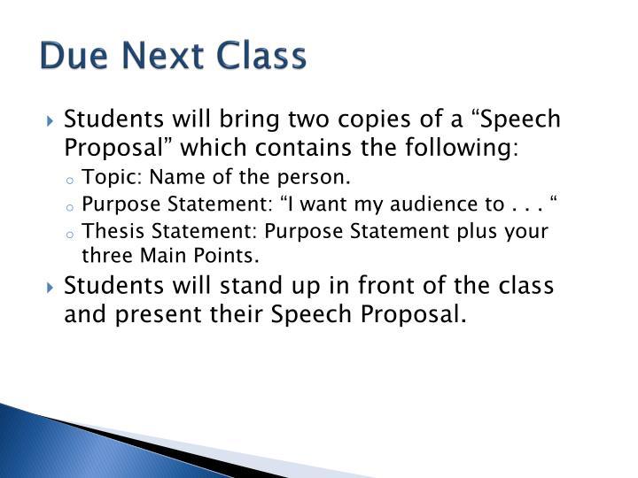 Due Next Class