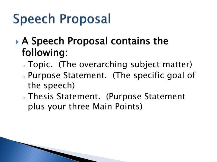 Speech Proposal