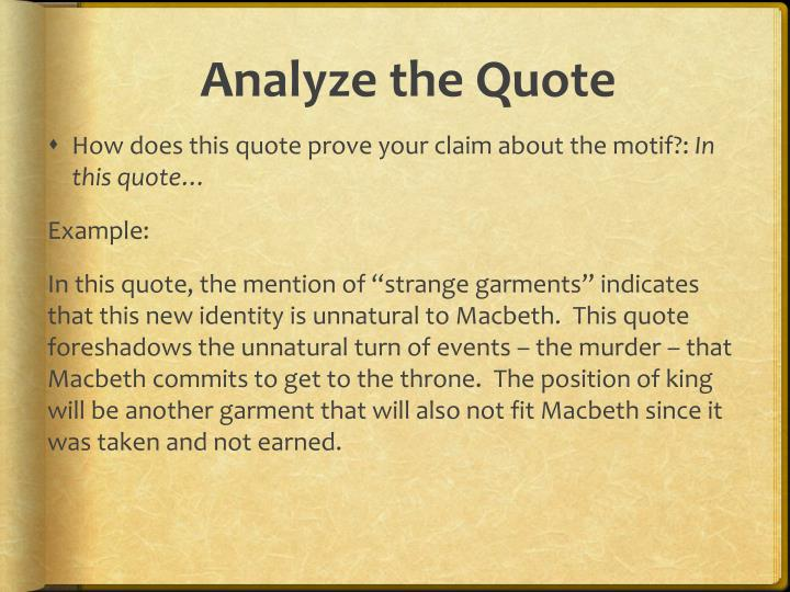 Analyze the Quote