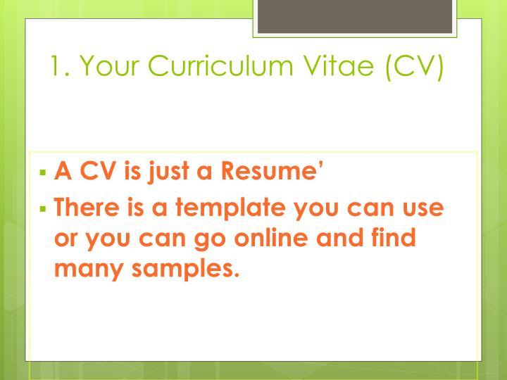 1. Your Curriculum Vitae (CV)