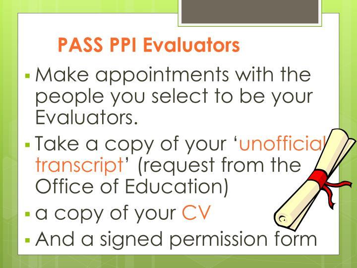 PASS PPI Evaluators