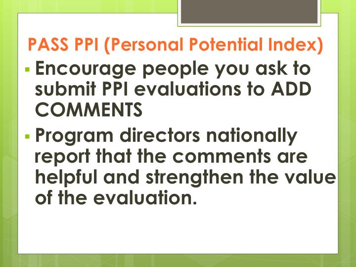 PASS PPI (Personal Potential Index)