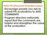 pass ppi personal potential index