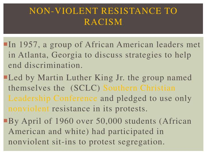 Non-violent Resistance to Racism