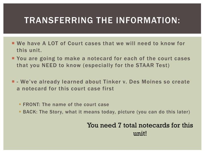 Transferring the information: