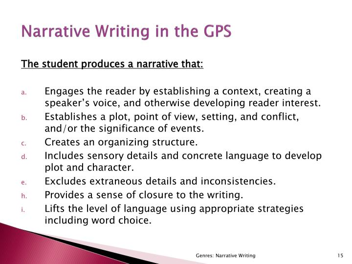 Narrative Writing in the GPS