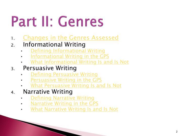 Part II: Genres