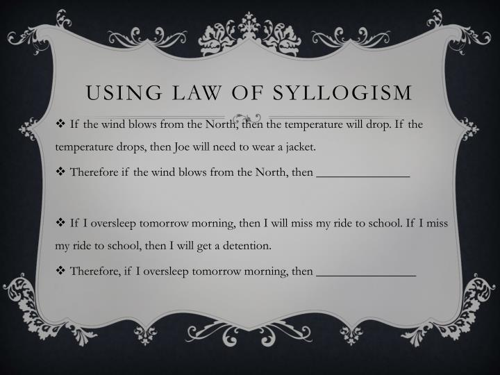 Using law of syllogism