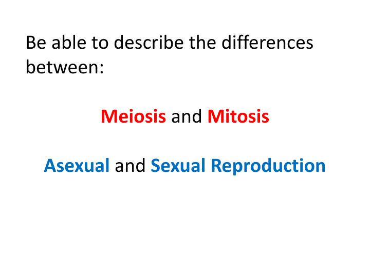 Be able to describe the differences between:
