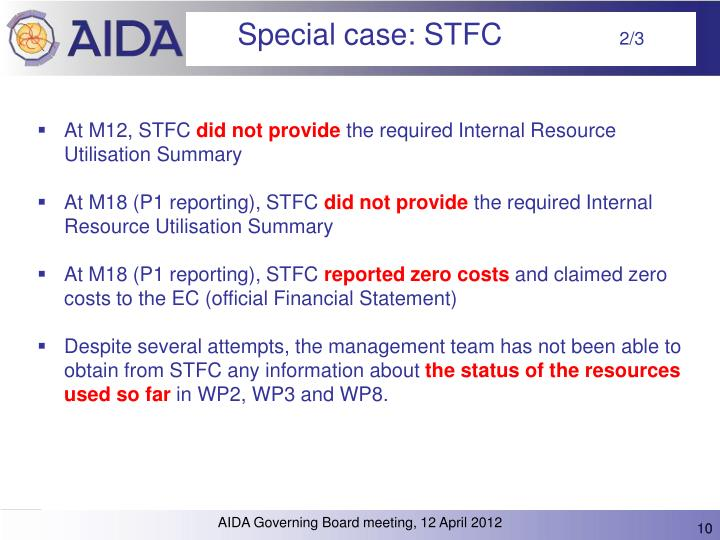 Special case: STFC