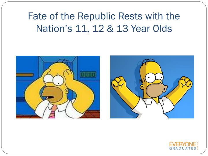 Fate of the Republic Rests with the Nation's 11, 12 & 13 Year Olds