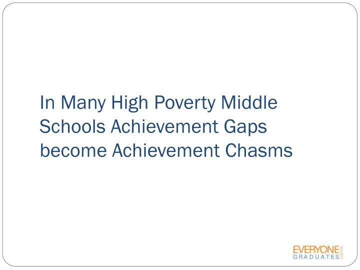 In Many High Poverty Middle Schools Achievement Gaps become Achievement Chasms