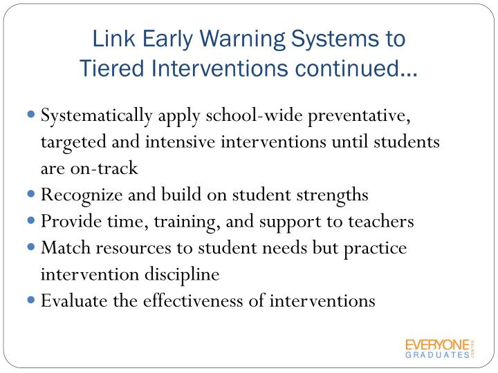 Link Early Warning Systems to