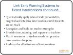 link early warning systems to tiered interventions continued