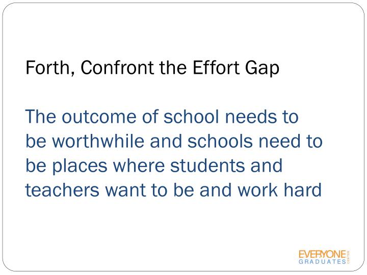 Forth, Confront the Effort Gap