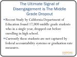 the ultimate signal of disengagement is the middle grade dropout