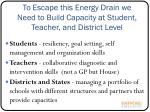 to escape this energy drain we need to build capacity at student teacher and district level
