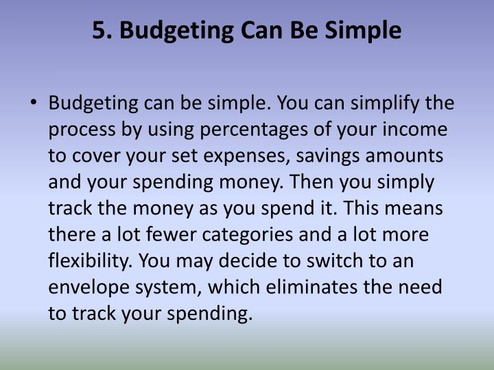 5. Budgeting Can Be Simple