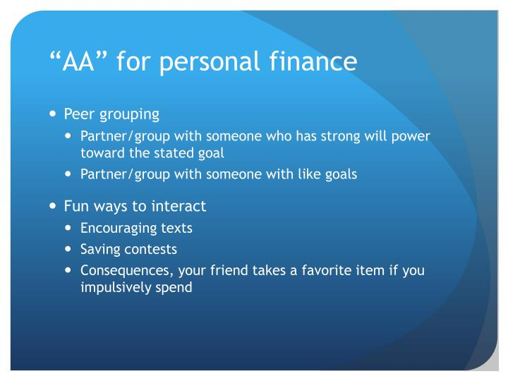 """AA"" for personal finance"