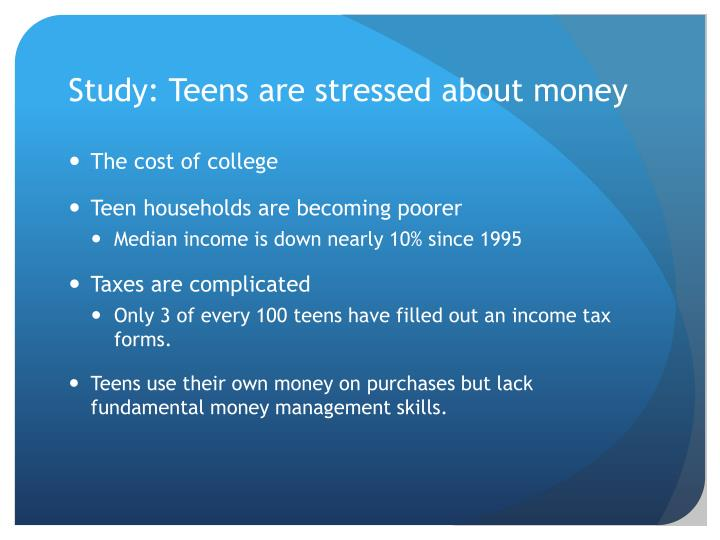 Study: Teens are stressed about money