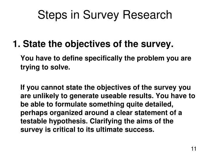 1. State the objectives of the survey.