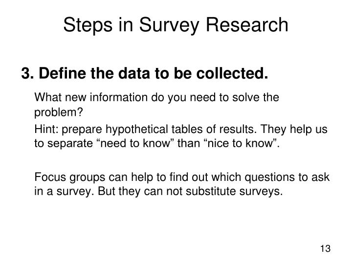 3. Define the data to be collected.