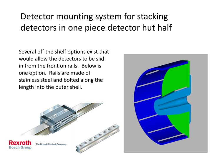 Detector mounting system for stacking detectors in one piece detector hut half