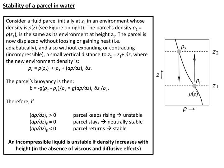 Stability of a parcel in water