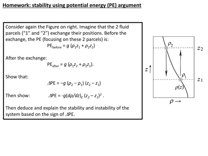 Homework: stability using potential energy (PE) argument