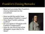 franklin s closing remarks