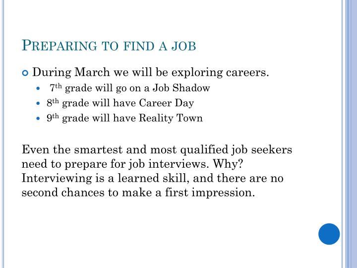 Preparing to find a job