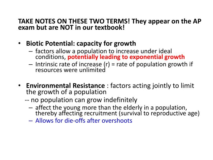 TAKE NOTES ON THESE TWO TERMS! They appear on the AP exam but are NOT in our textbook!