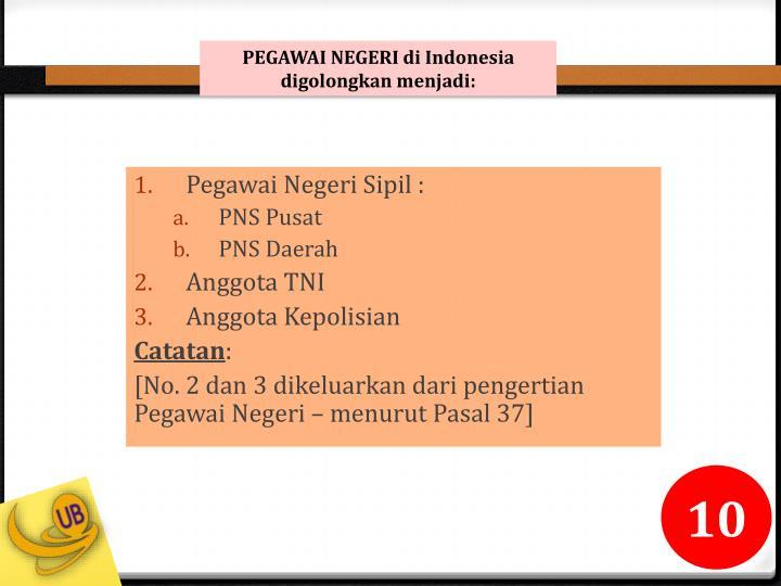 PEGAWAI NEGERI di Indonesia digolongkan menjadi: