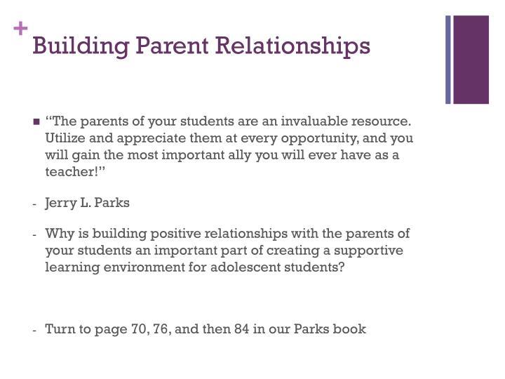 Building Parent Relationships