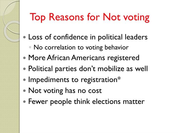 Top Reasons for Not voting