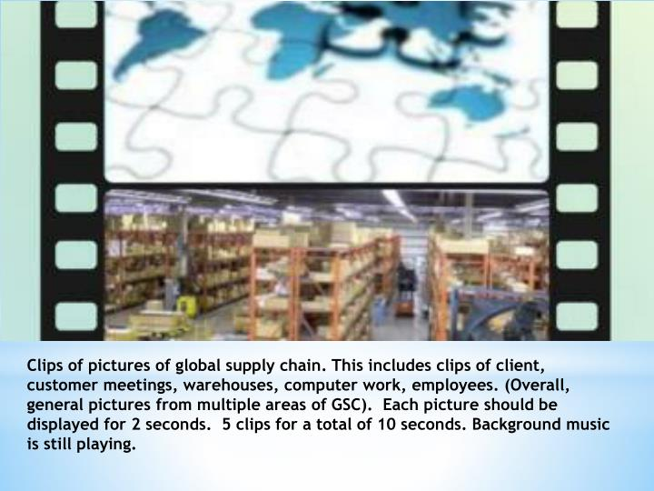 Clips of pictures of global supply chain. This includes clips of client, customer meetings, warehous...
