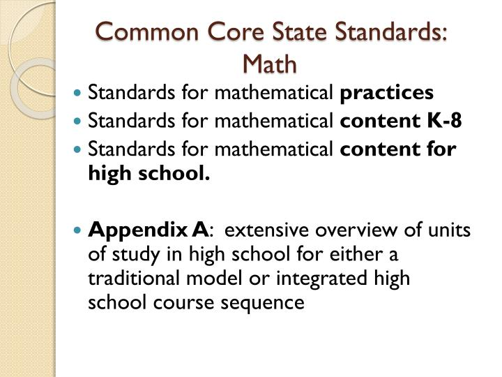 Common Core State Standards:  Math