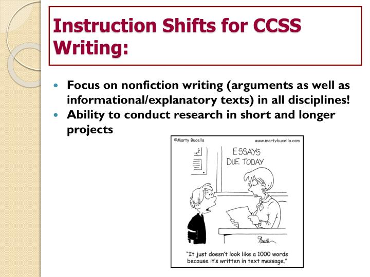 Instruction Shifts for CCSS Writing: