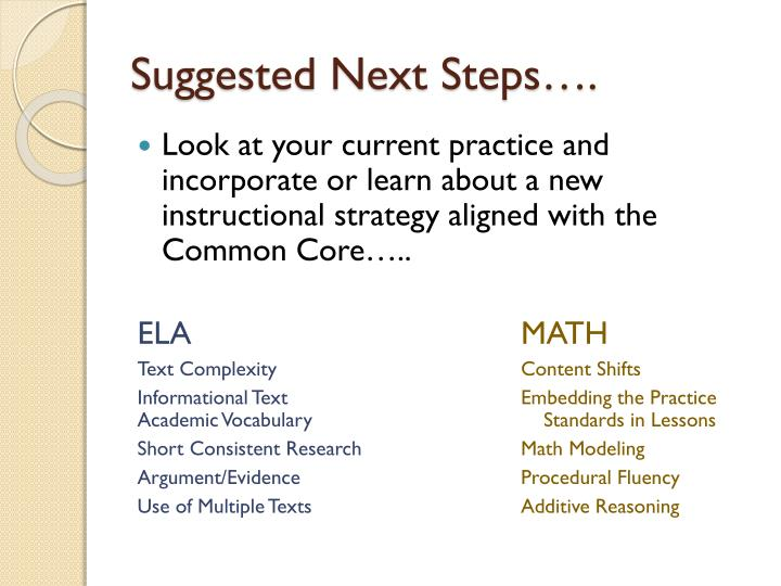 Suggested Next Steps….