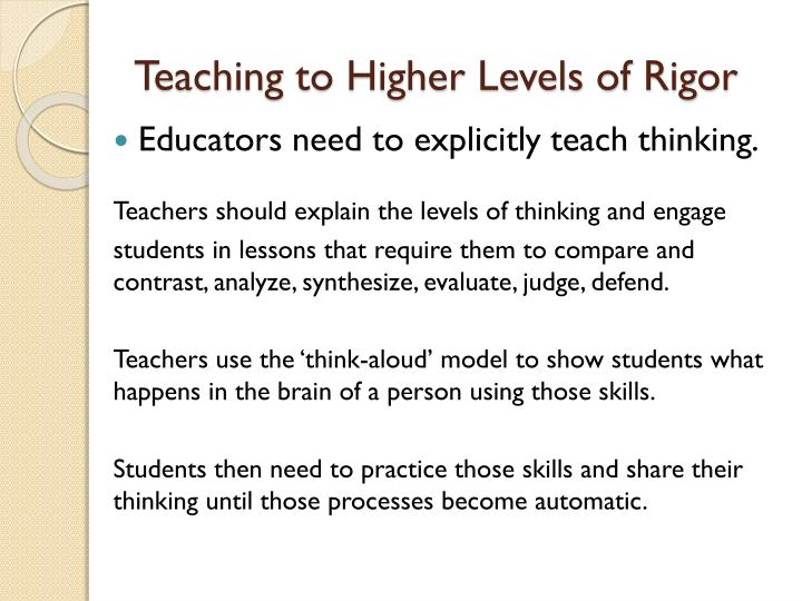 Teaching to Higher Levels of Rigor