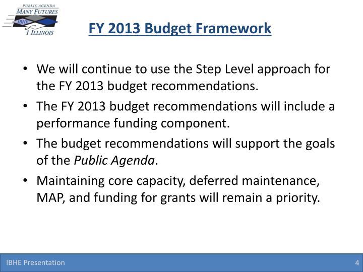 FY 2013 Budget Framework
