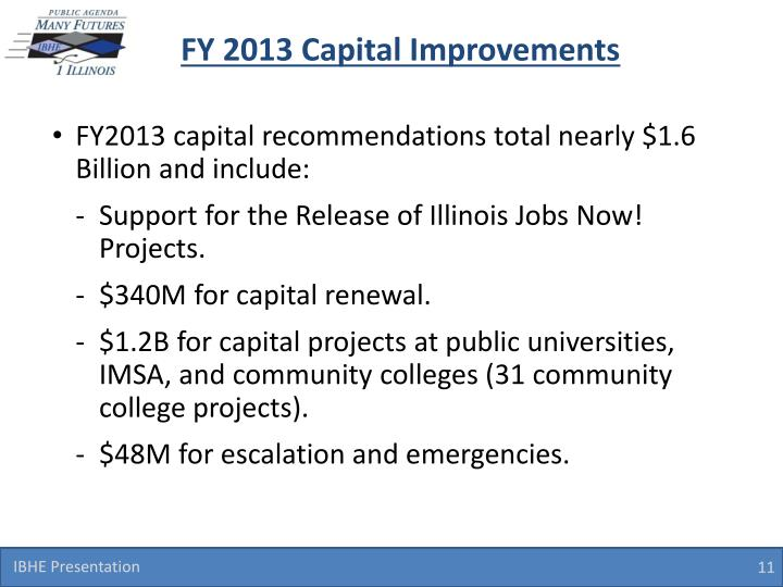 FY 2013 Capital Improvements