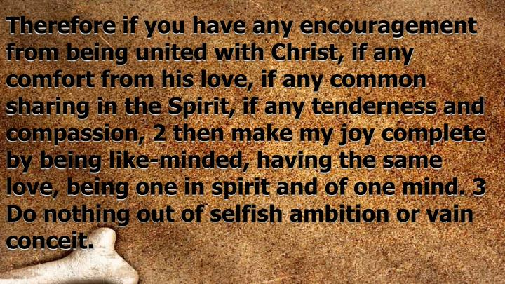 Therefore if you have any encouragement from being united with Christ, if any comfort from his love, if any common sharing in the Spirit, if any tenderness and compassion, 2 then make my joy complete by being like-minded, having the same love, being one in spirit and of one mind. 3 Do nothing out of selfish ambition or vain conceit.