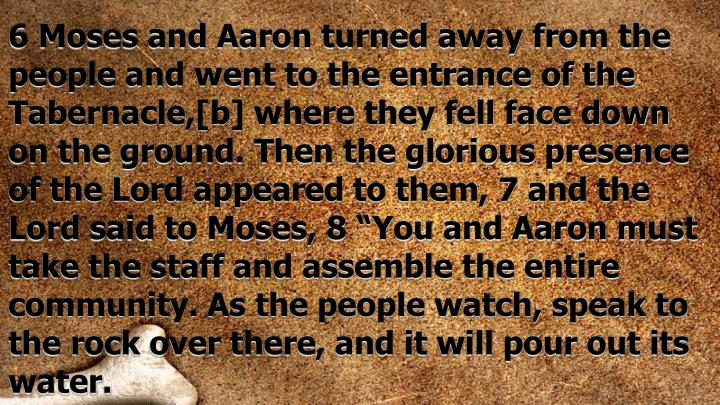 "6 Moses and Aaron turned away from the people and went to the entrance of the Tabernacle,[b] where they fell face down on the ground. Then the glorious presence of the Lord appeared to them, 7 and the Lord said to Moses, 8 ""You and Aaron must take the staff and assemble the entire community. As the people watch, speak to the rock over there, and it will pour out its water."