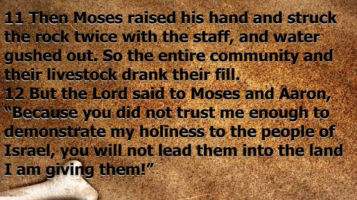 11 Then Moses raised his hand and struck the rock twice with the staff, and water gushed out. So the entire community and their livestock drank their fill.