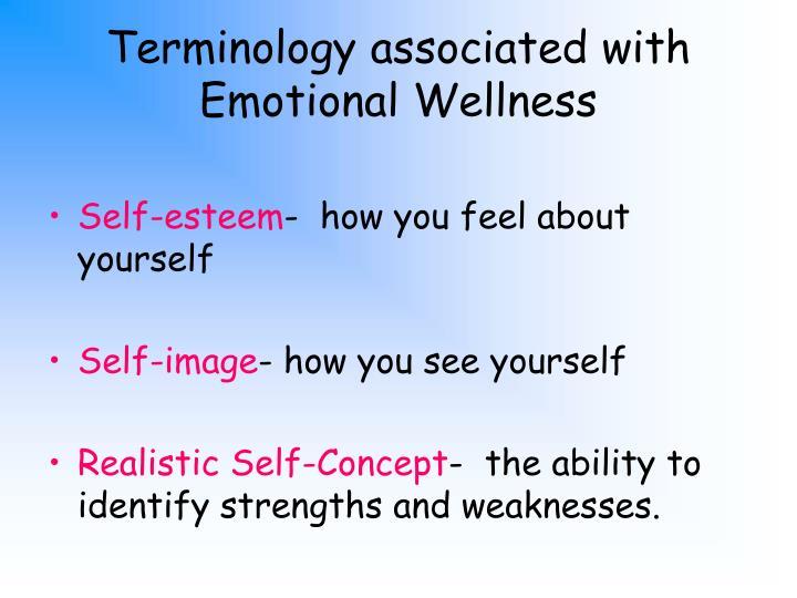 Terminology associated with Emotional Wellness