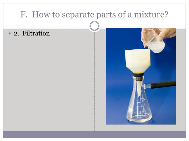 F.  How to separate parts of a mixture?