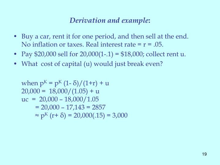 Derivation and example