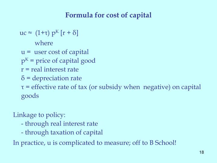 Formula for cost of capital