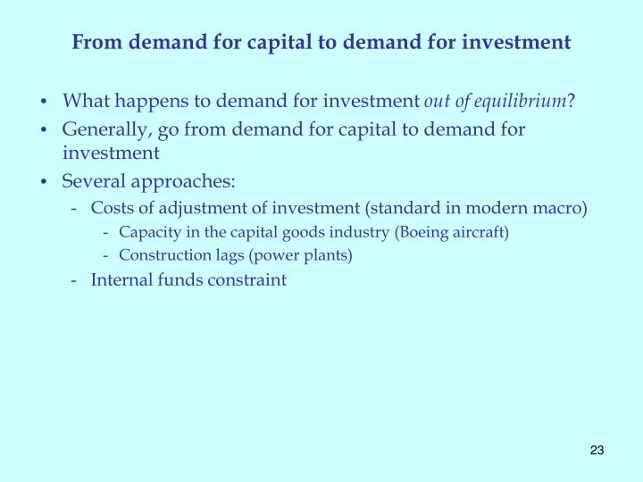 From demand for capital to demand for investment